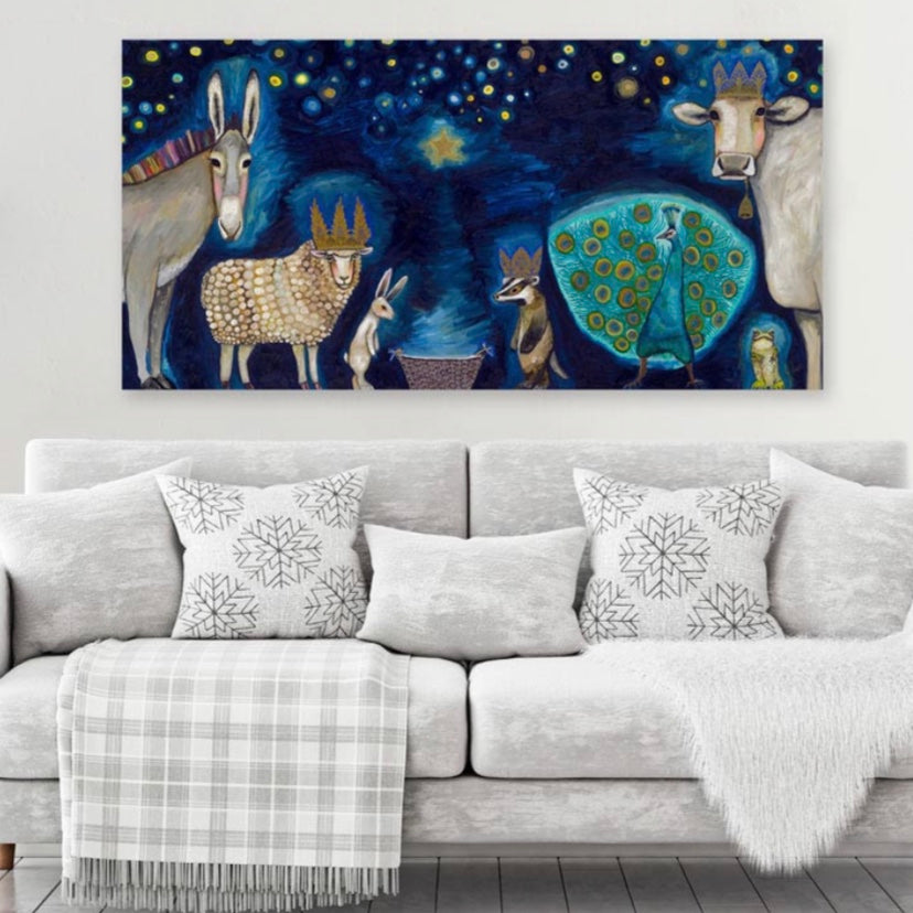 Animal Nativity Canvas 24x12 Wall Art