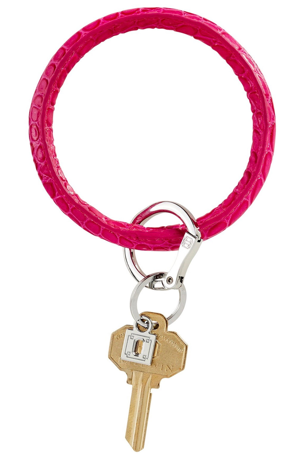 Leather Big O Key Ring: Pink Topaz Croc