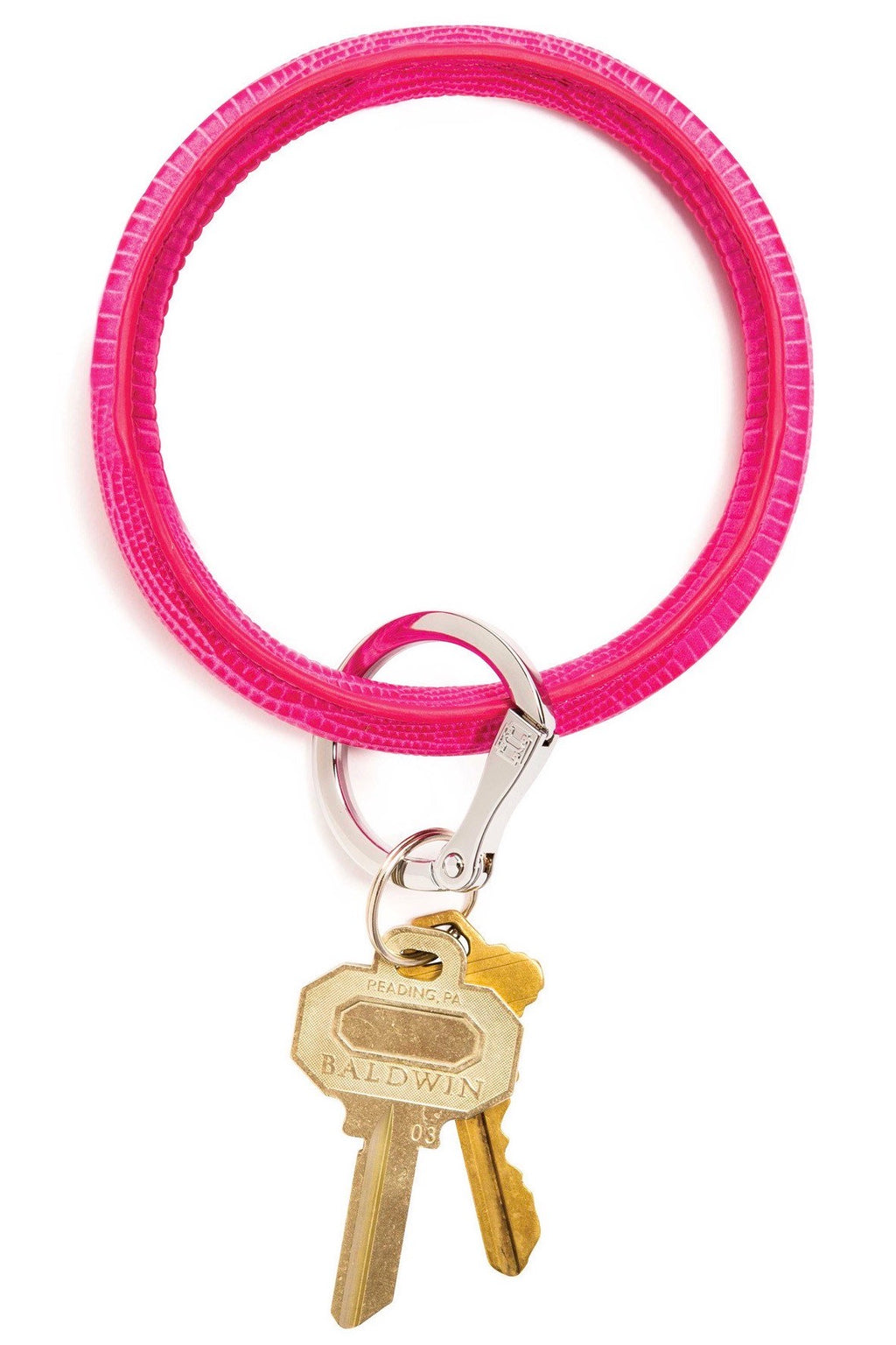 Leather Big O Key Ring: Tickle Pink Lizard