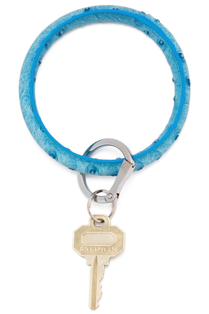 Leather Big O Key Ring: Peacock Ostrich