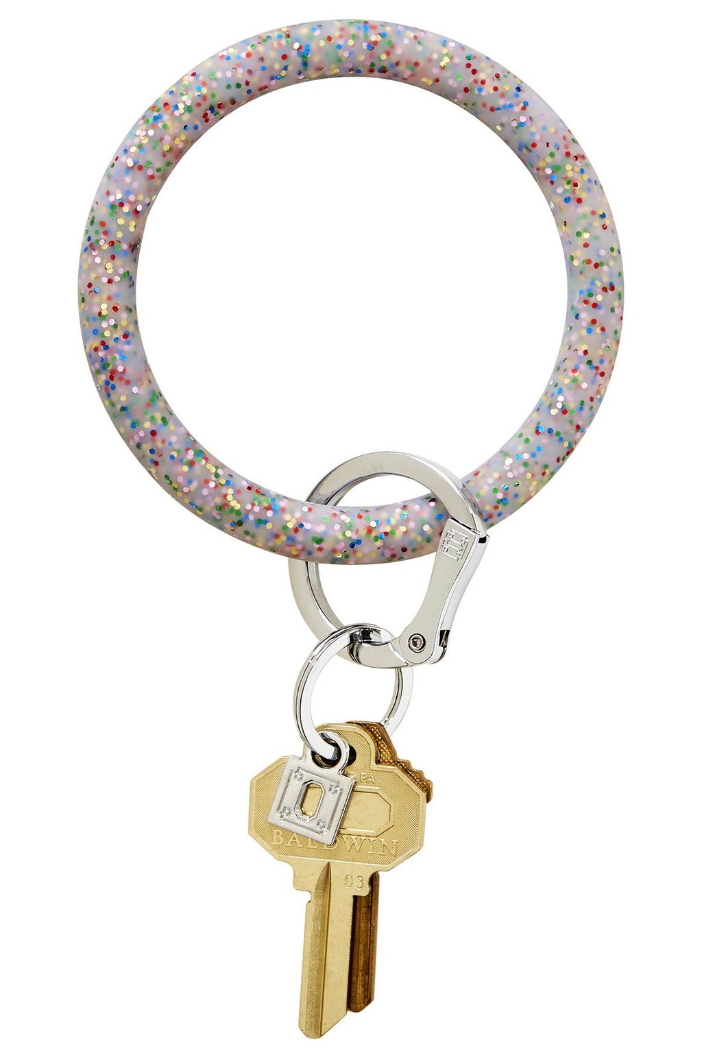 Silicone Big O Key Ring: Rainbow Confetti