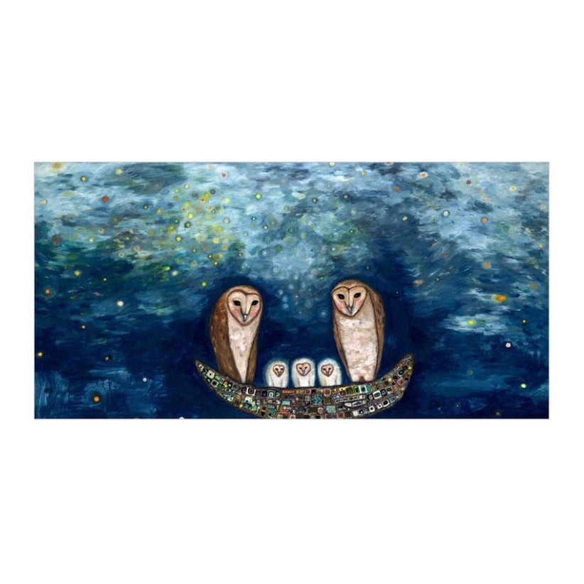 Barn Owl Treasure Nest Canvas Wall Art 30x15