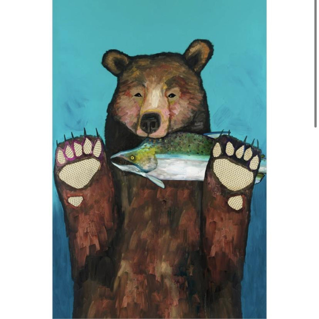 Bear with Salmon Canvas Wall Art 20x30