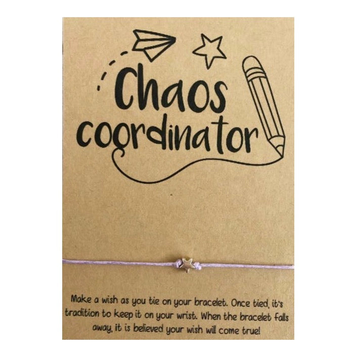 Chaos Coordinator Wish Card and Bracelet