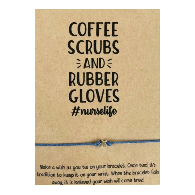 Coffee Scrubs And Rubber Gloves Wish Card and Bracelet