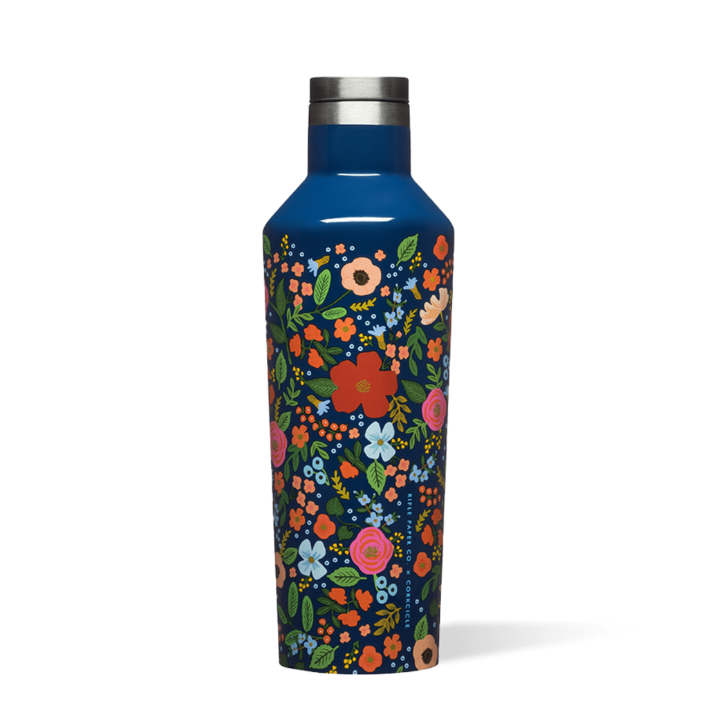 Corkcicle 16oz Canteen Rifle Paper Gloss Navy Wild Rose