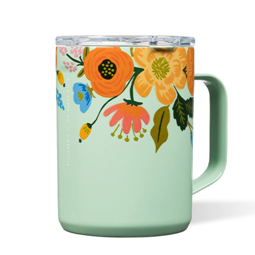 Corkcicle 16oz Coffee Mug Rifle Paper Gloss Mint Lively Floral