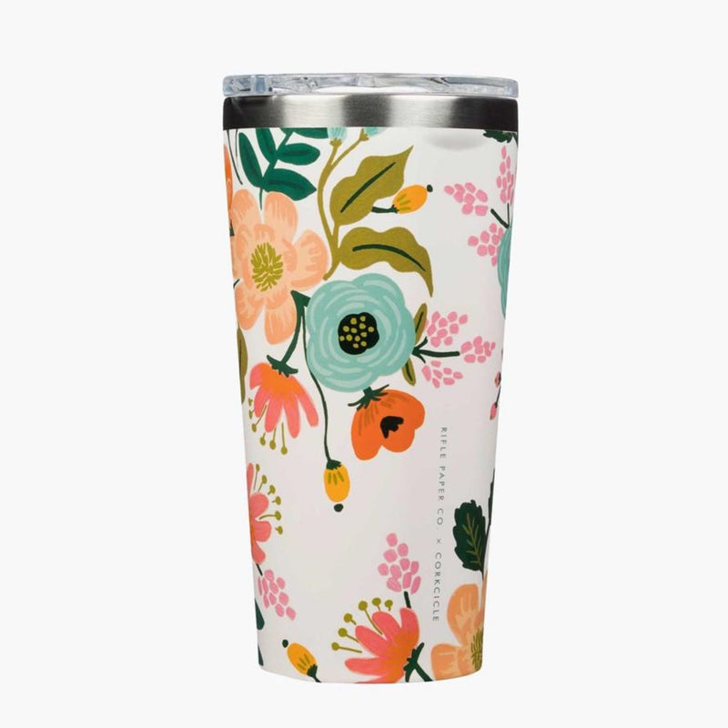 Corkcicle 16oz Tumbler Rifle Paper Gloss Cream Lively Floral