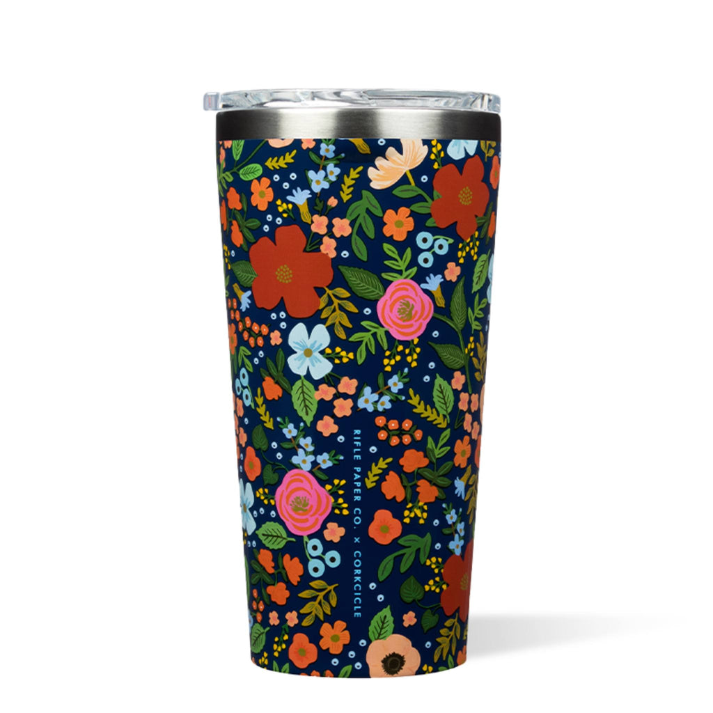 Corkcicle 16oz Tumbler Rifle Paper Gloss Navy Wild Rose