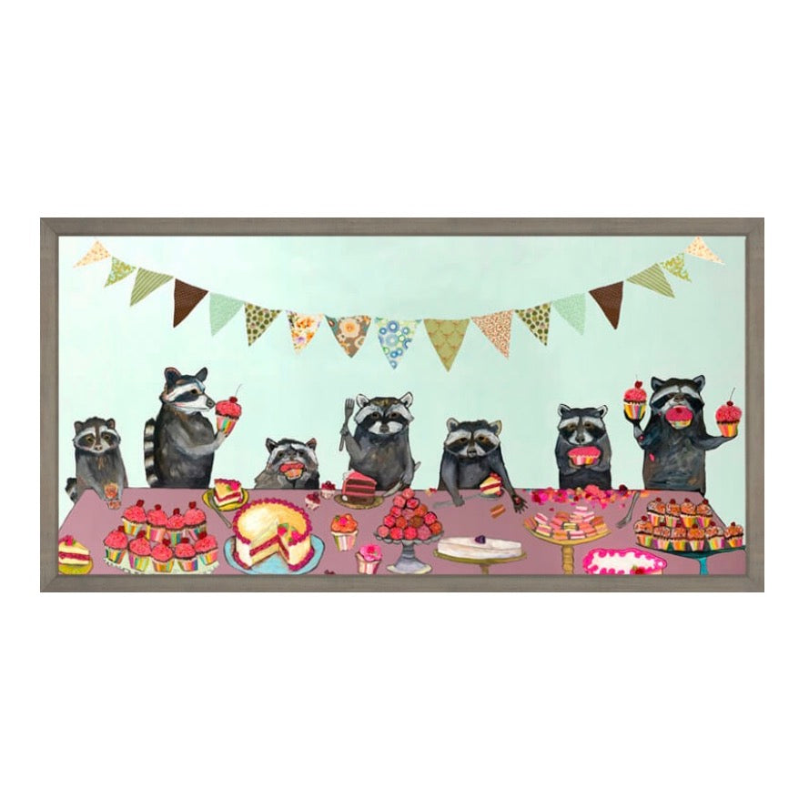 Cupcake Party in Rustic Drift Frame Canvas Wall Art 36x18
