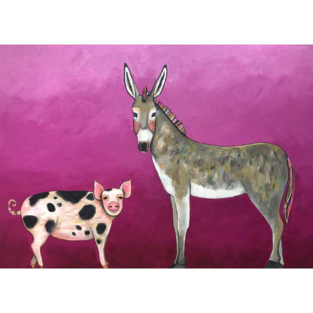 "Donkey and Pig Tails- 84"" x 60"" ORIGINAL Oil Painting By Eli Halpin"