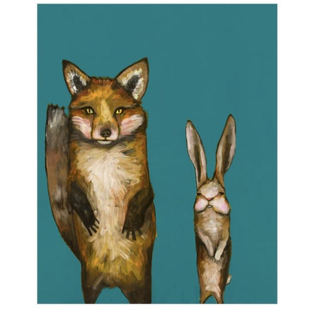 Fox and Rabbit Side by Side Canvas Wall Art 18x24