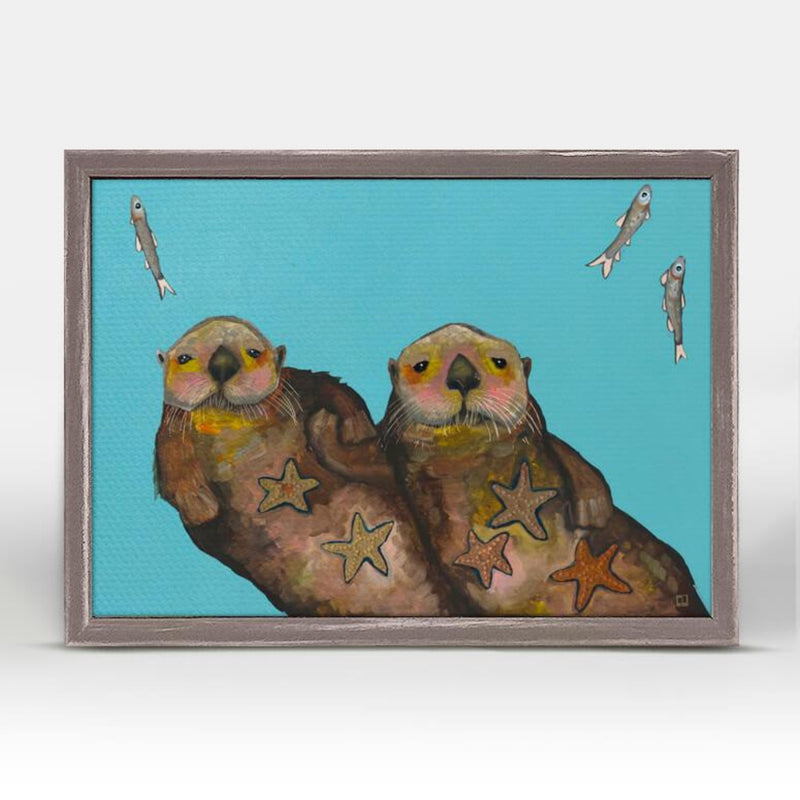"GB-NB45156-Eli-Halpin-Holding-Hands-Otters-rustic-natural-mini-framed-canvas-7""x5"""