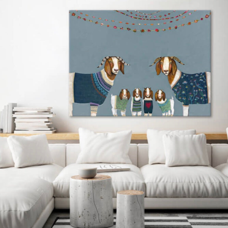 Goats In Sweaters Canvas Wall Art 18x14