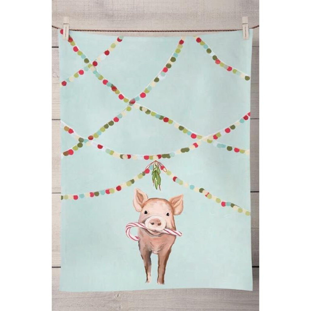 Festive Pig Tea Towel