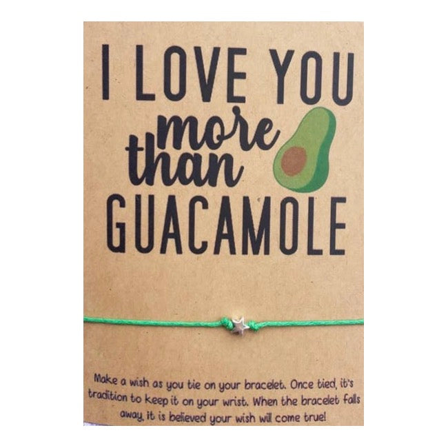 I Love You More Than Guacamole Wish Card and Bracelet
