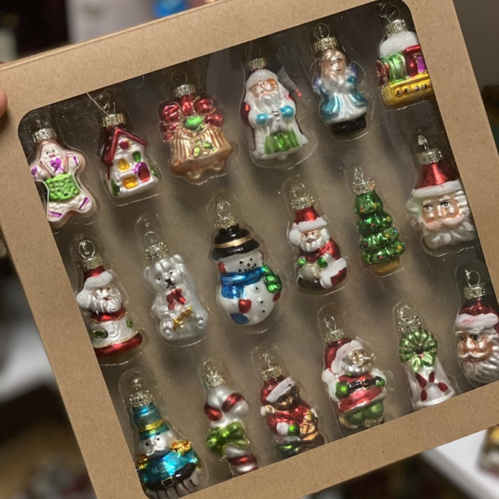 Boxed Set of 18 Glass Vintage Style Christmas Figure Ornaments