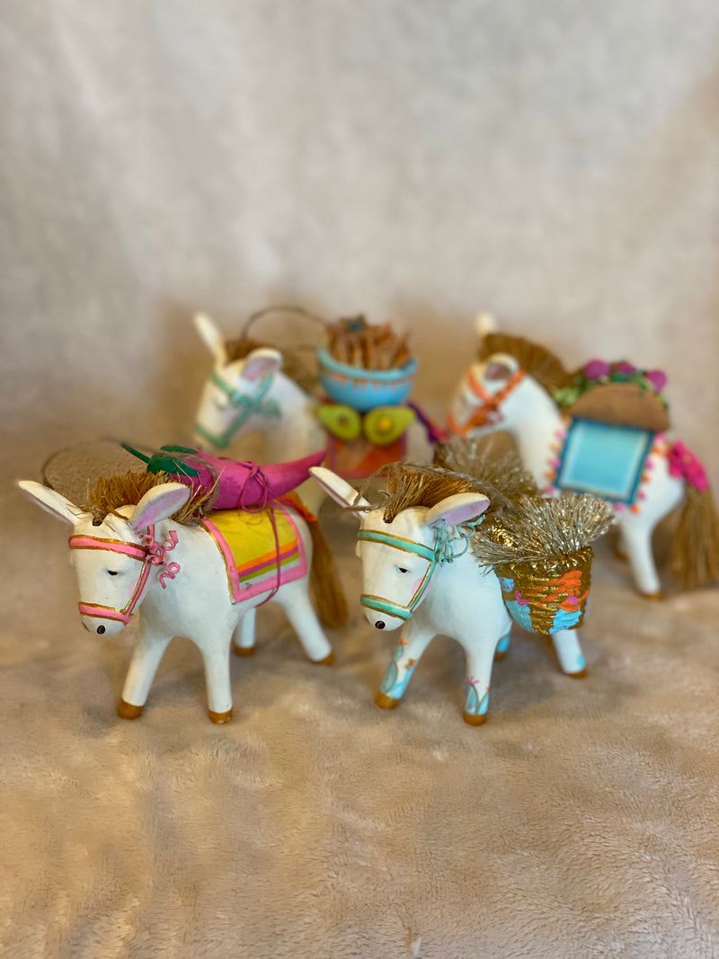 Fancy Burro with Pepper Donkey Ornament