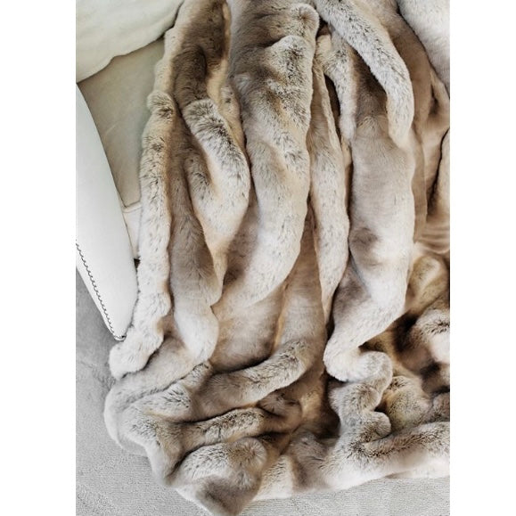 "Truffle Chinchilla Couture Faux Fur 60"" X 72""Throw"