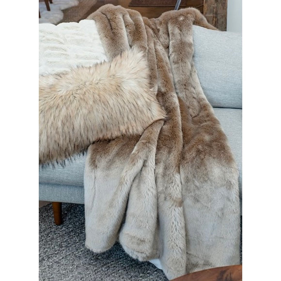 "Champagne Mink Couture Faux Fur 60"" x 72"" Throw"