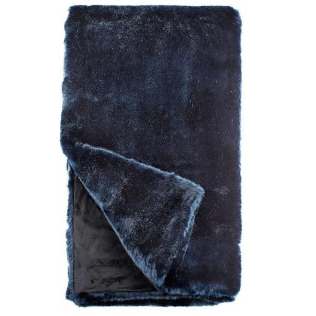 "Steel Blue Mink Couture Faux Fur  60"" X 72"" Throw"