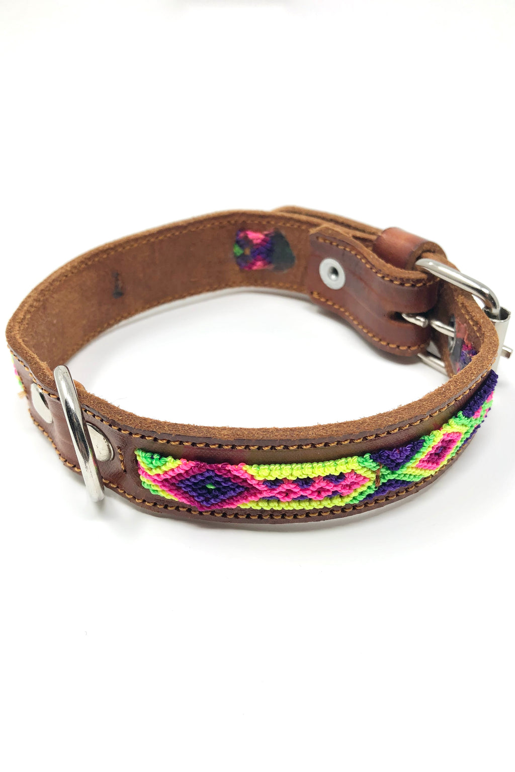 Colorful Pink/Purple Leather Pet Collar: Small