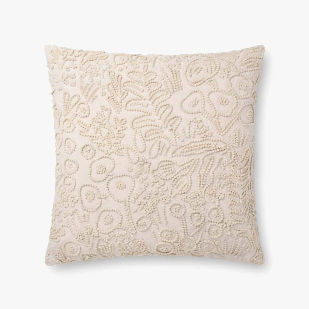 "Rifle Paper Co: Ivory Tapestry Embroidered Floral Beaded Pillow 22"" x 22"""