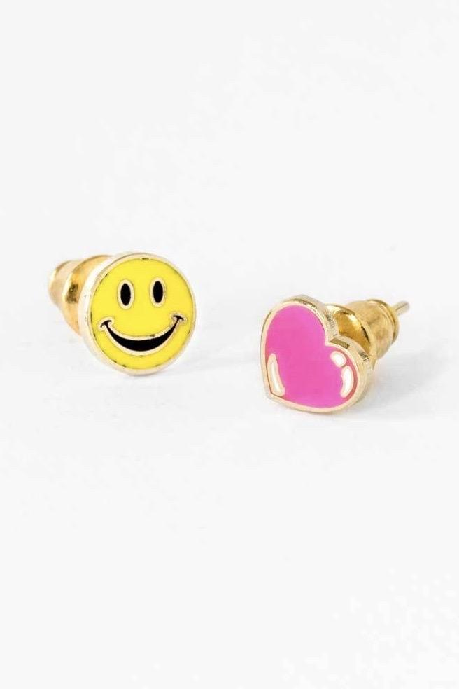 Happy Face and Heart Earrings