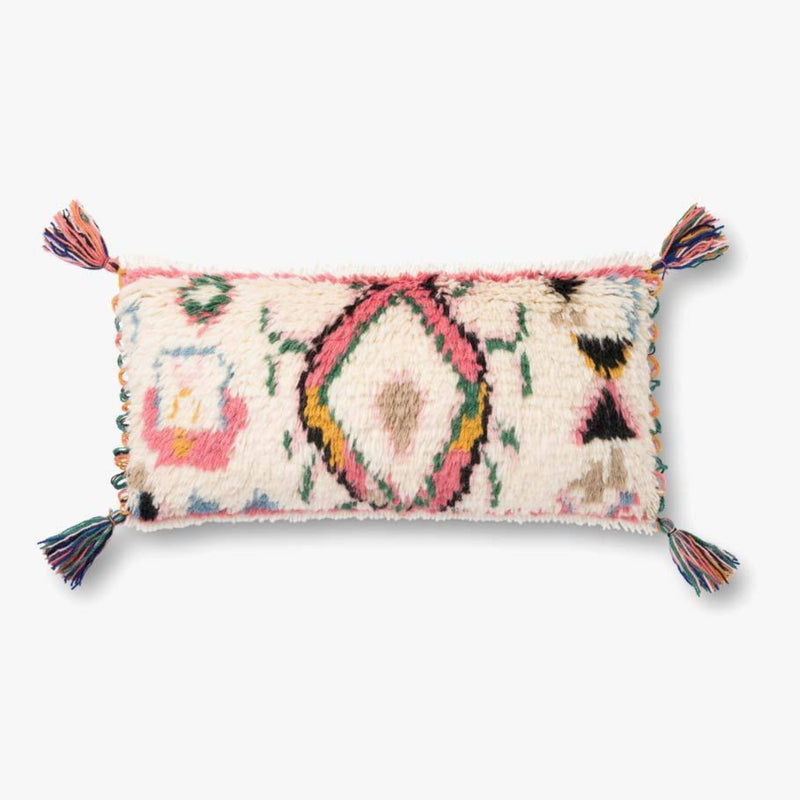 "Justina Blakeney: Ivory / Multi Color Pillow with Tassels 12"" X 27"""