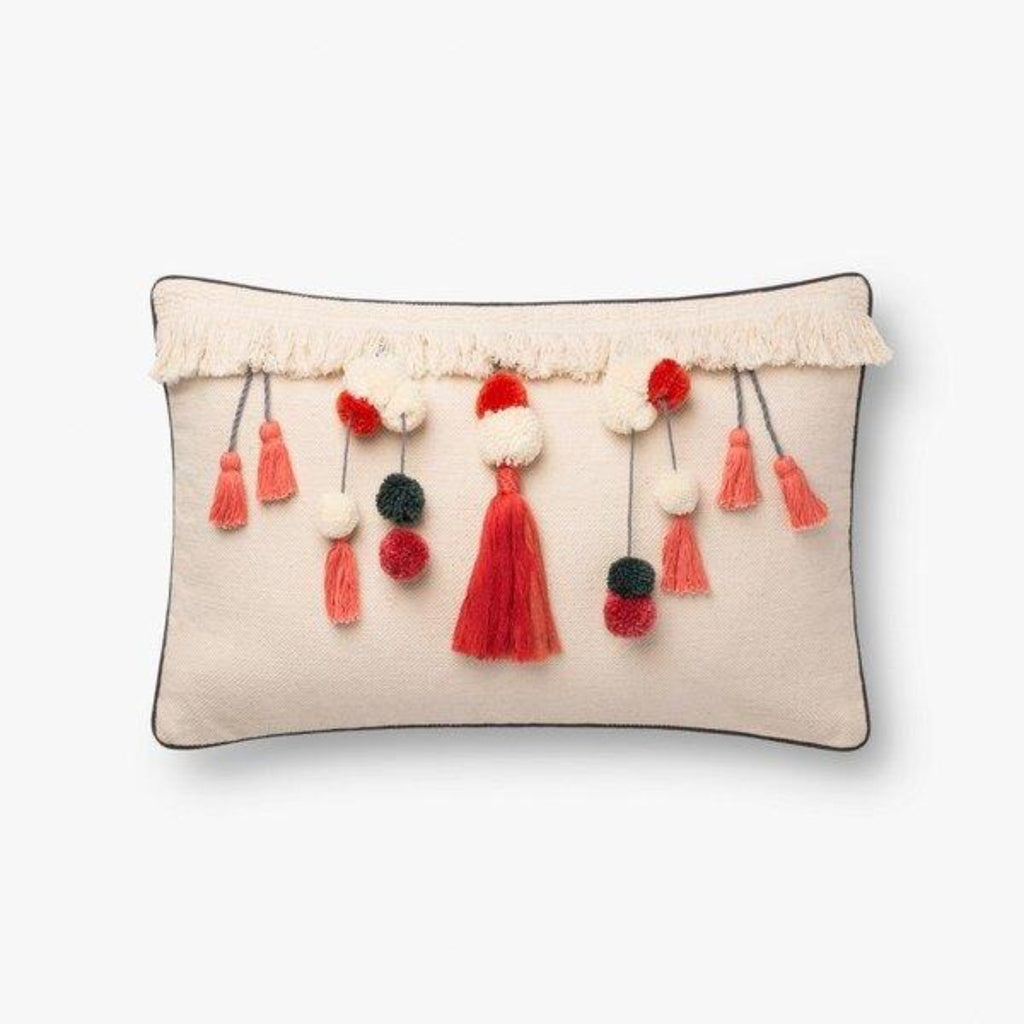 "Justina Blakeney: Natural / Coral Pillow with Tassel Details 13"" X 21"""
