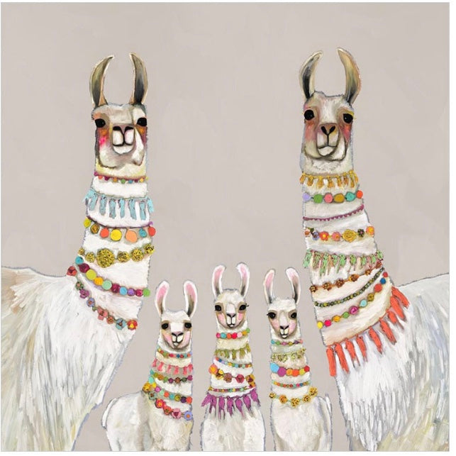 Necklaces Llamas on Neutral Canvas Wall Art 30x30