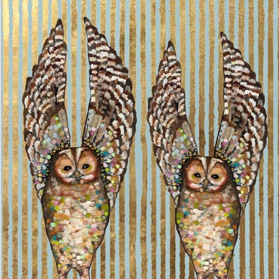 Owl Duo Embellished Canvas Wall Art 18x18