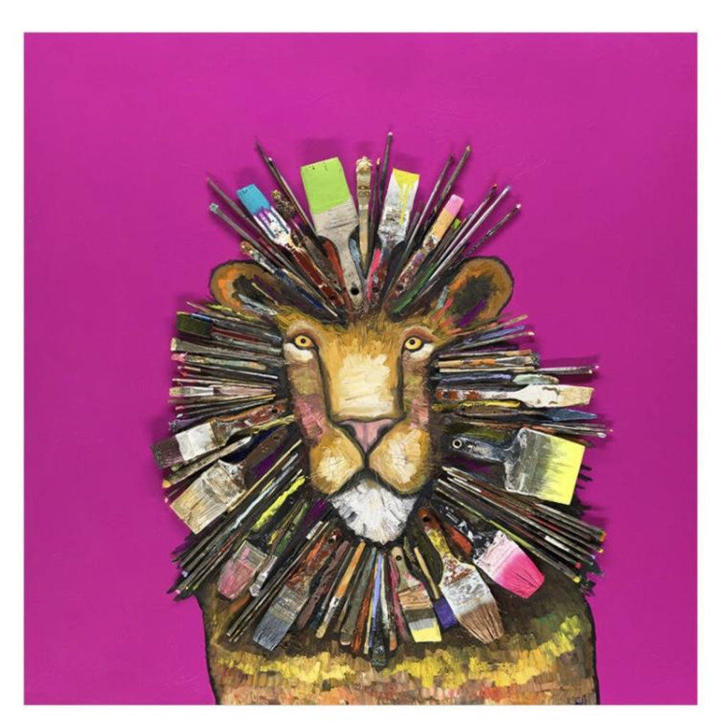 Paintbrush Lion Canvas Wall Art 18x18