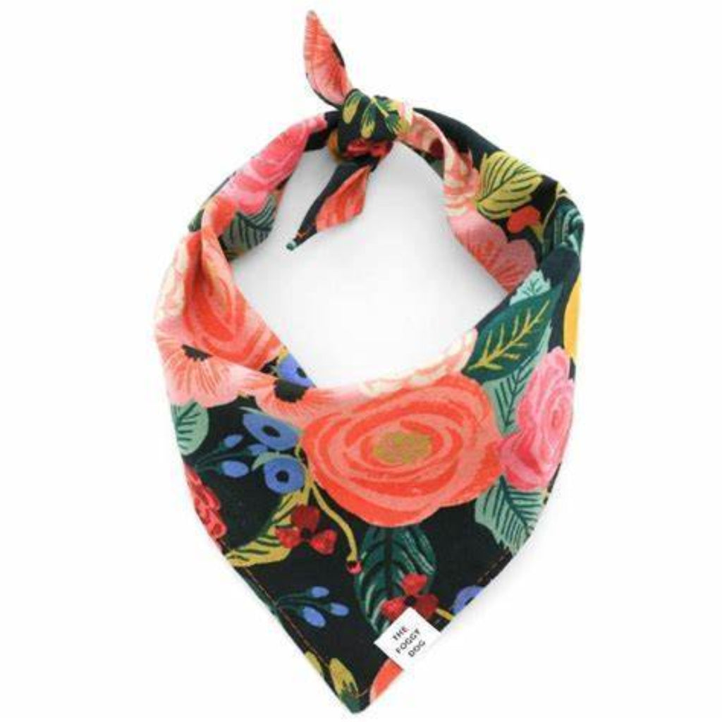 Painted Peonies Dog Bandana Midnight