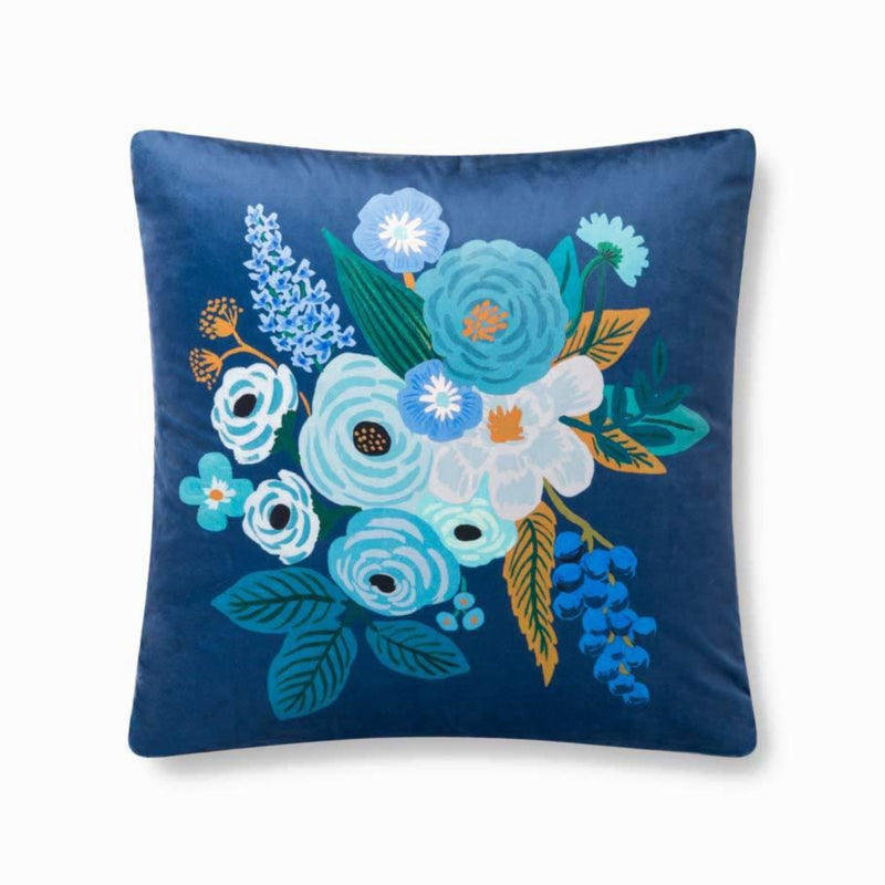 "Rifle Paper Co: Garden Party Velvet Pillow - Blue 22"" X 22"""