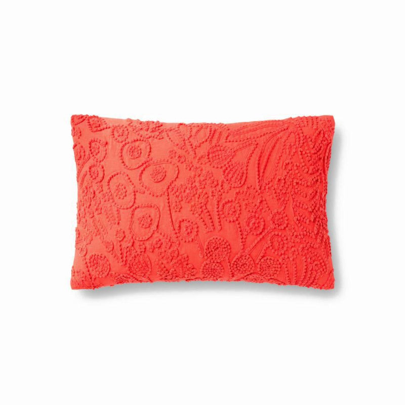 "Rifle Paper Co: Tapestry Embroidered Floral Pillow - Red 13"" X 21"""