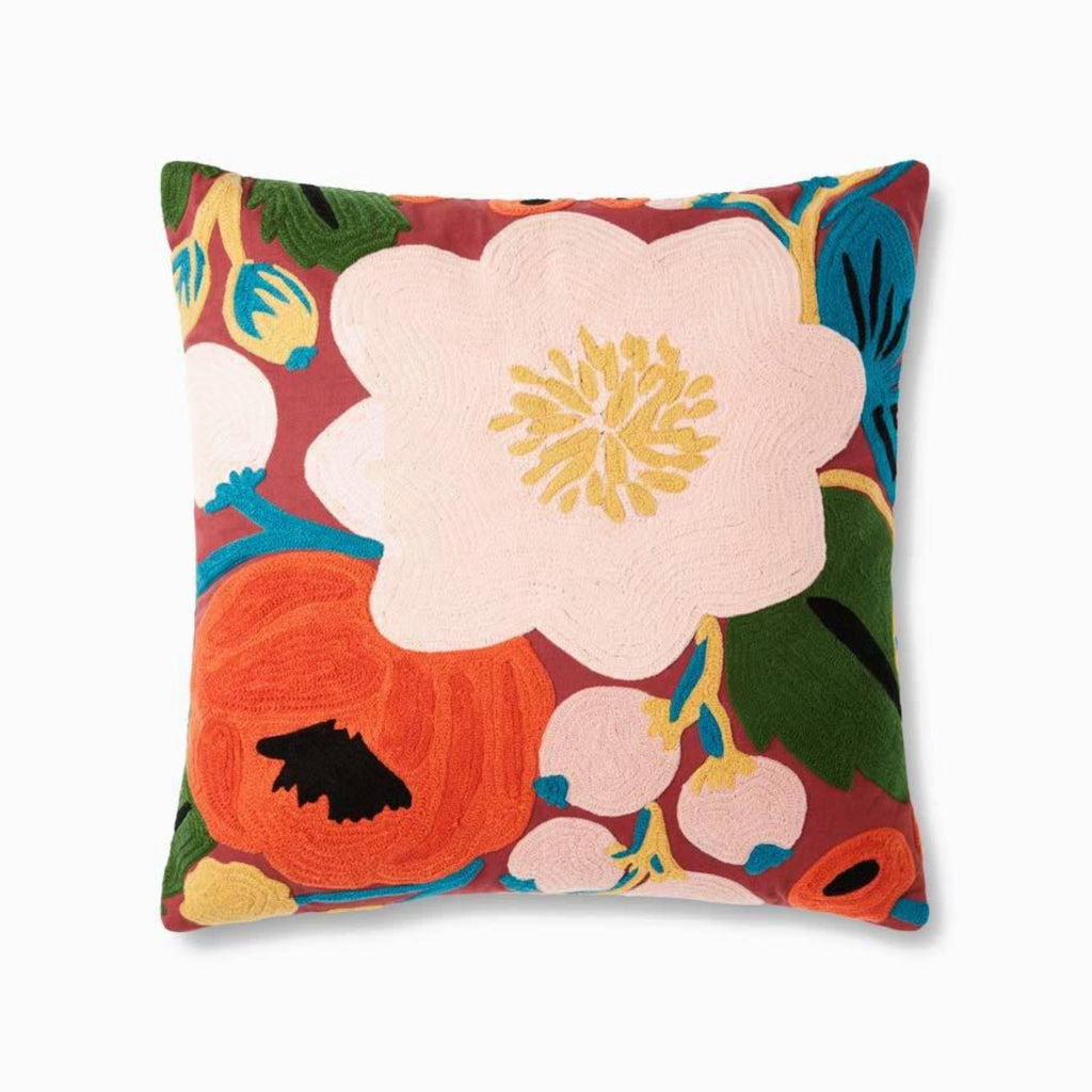 "Rifle Paper Co: Vintage Blossoms Embroidered Pillow- Crimson 22"" X 22"""