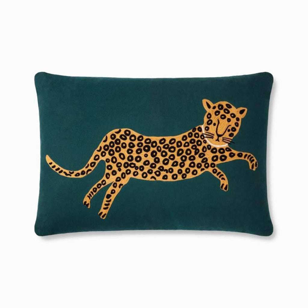 "Rifle Paper Co: Leopard Embroidered Pillow 16"" X 26"""