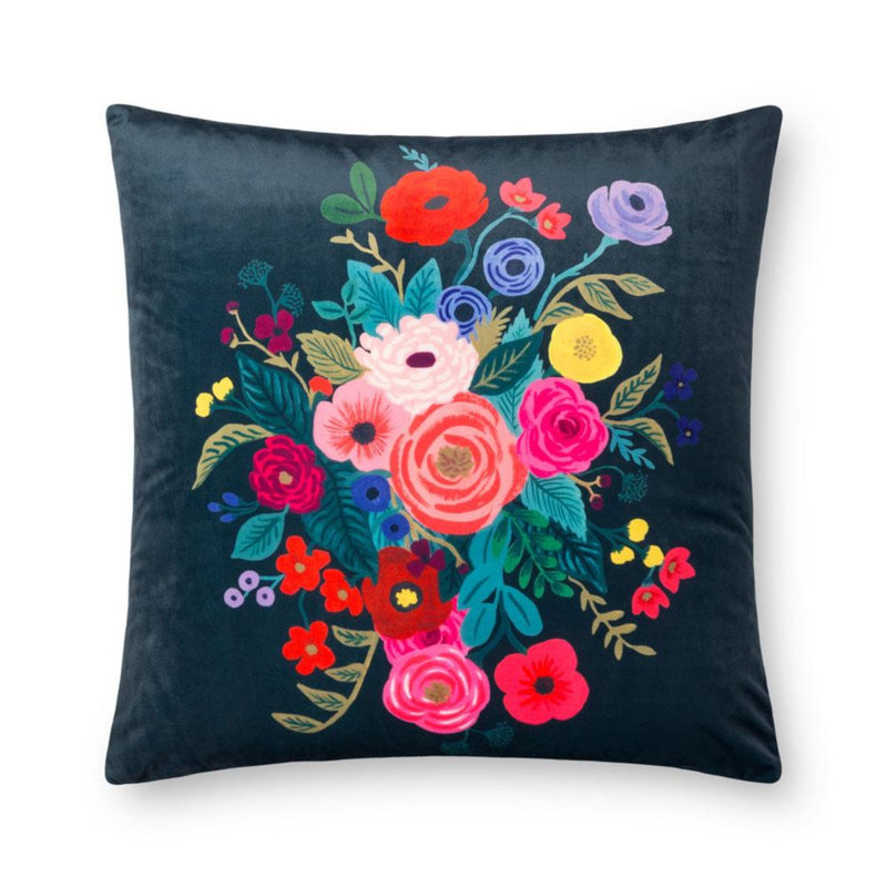 "Rifle Paper Co: Juliet Rose Velvet Pillow - Midnight 22"" X 22"""