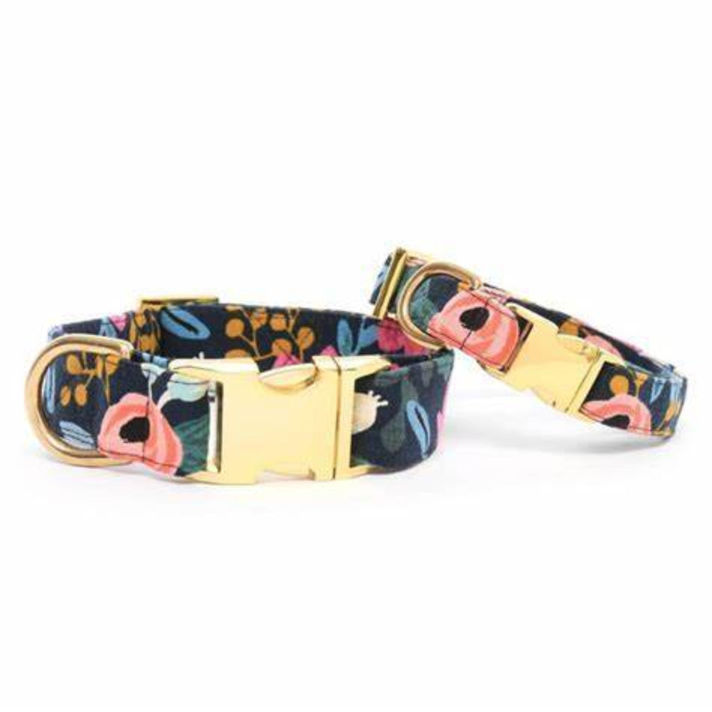 Rosa Floral Navy Dog Collar Gold