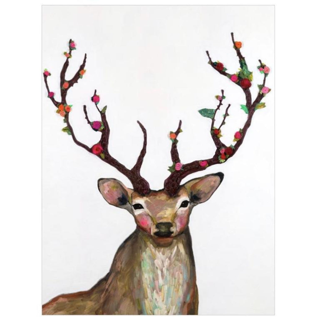 Rosy Buck Embellished Canvas Wall Art 18x24