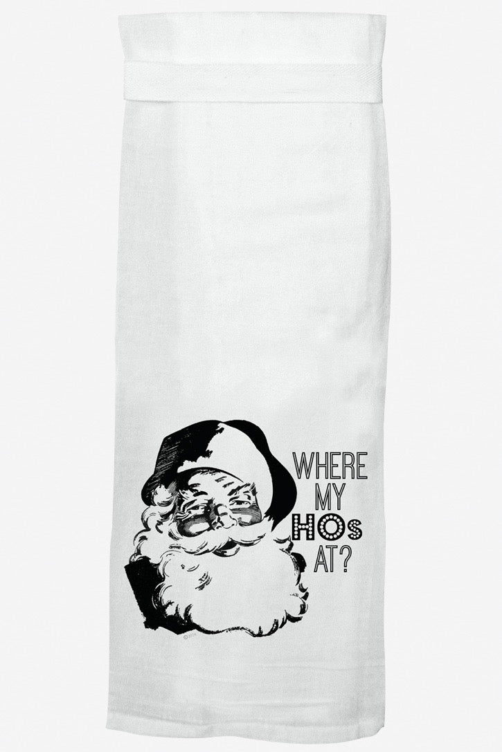 Where My Hos white large hand/dish towel