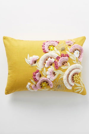 Olga Prinku Embroidered Odette Pillow-Gold w/ flowers