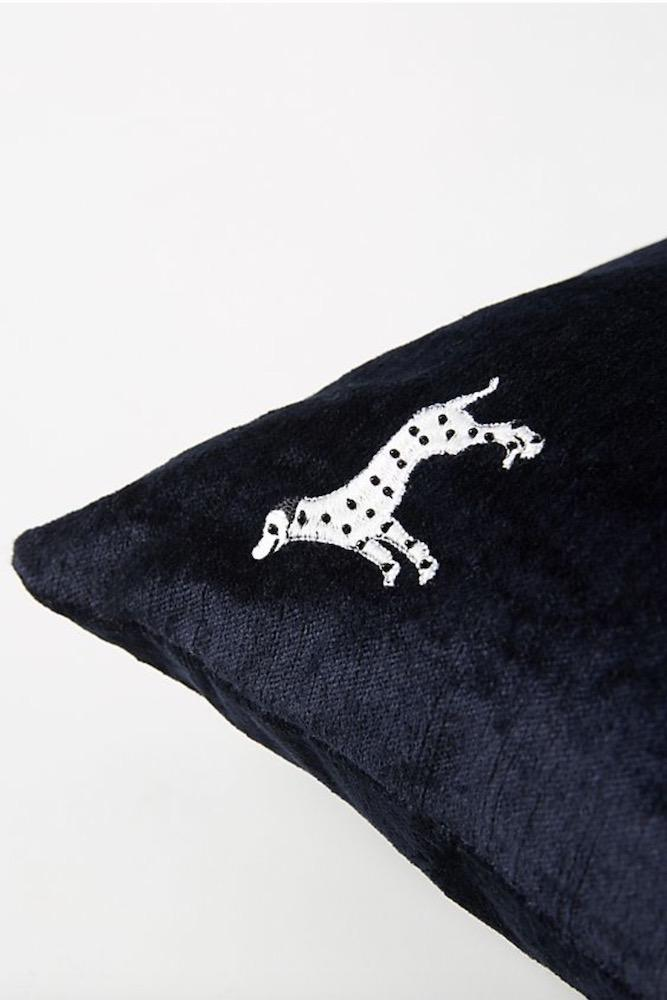 Navy Dalmatian Pillow 18x18