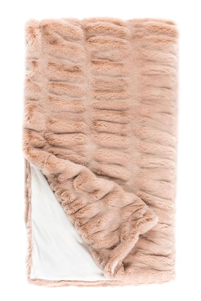 "Rose Mink Couture Faux Fur Throw 60""x60"""