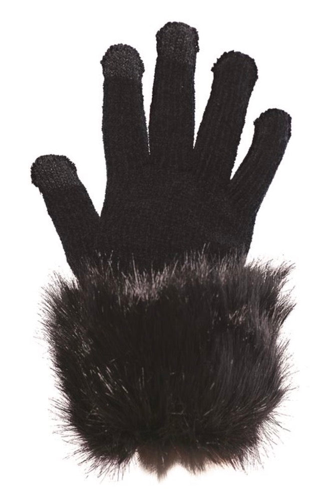 Black Fox Fuax Fur Trimmed Tech Gloves