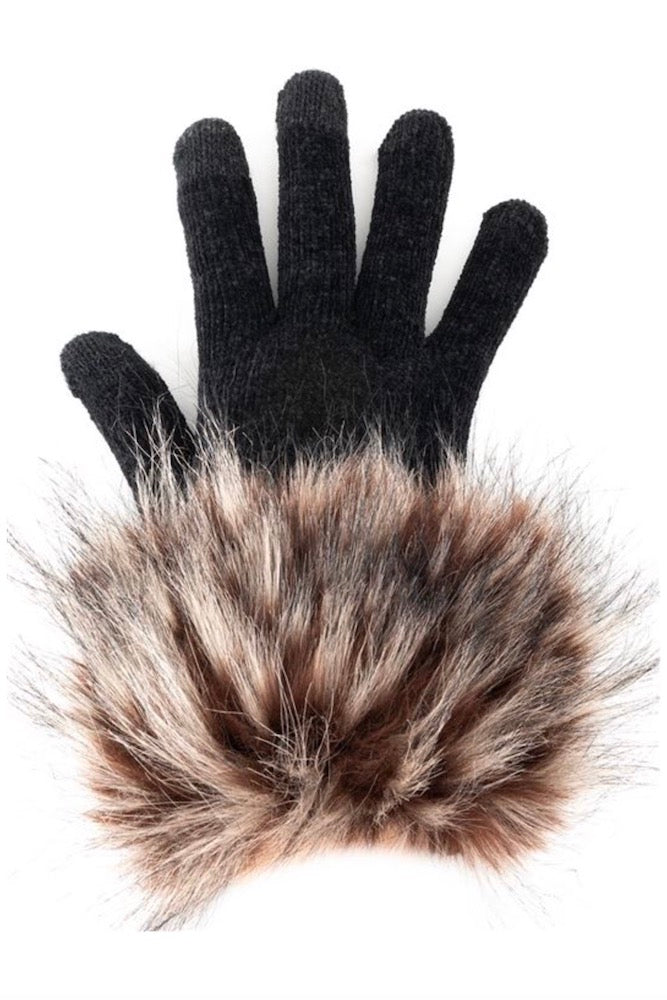 Spotted Wolf Faux Fur Trimmed Tech Gloves