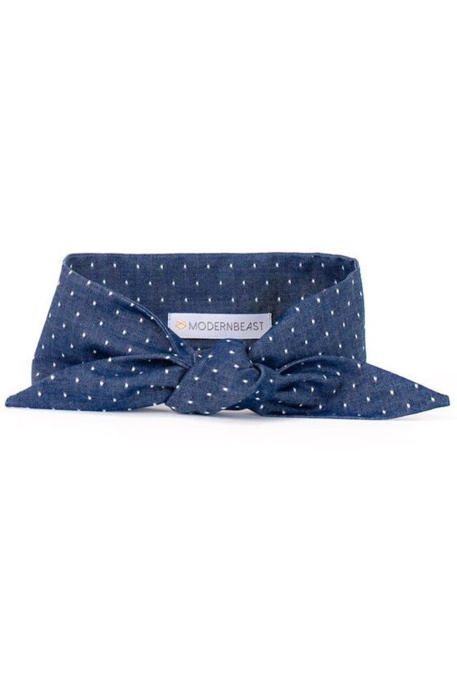 Dog Necktie: Denim Polka Dot