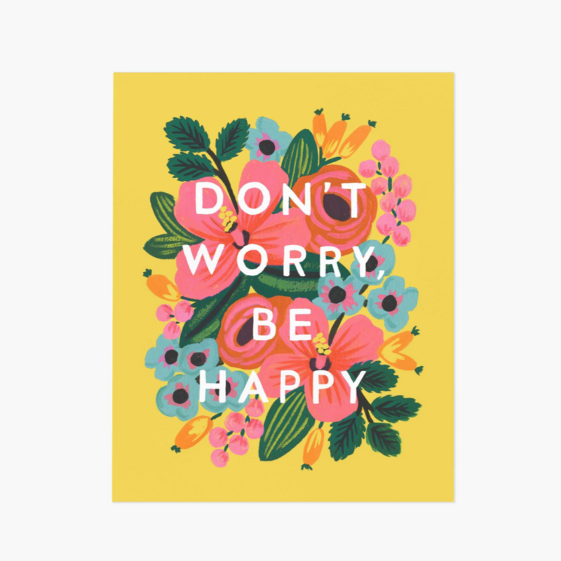 Don't Worry, Be Happy Floral Yellow - Greeting Card