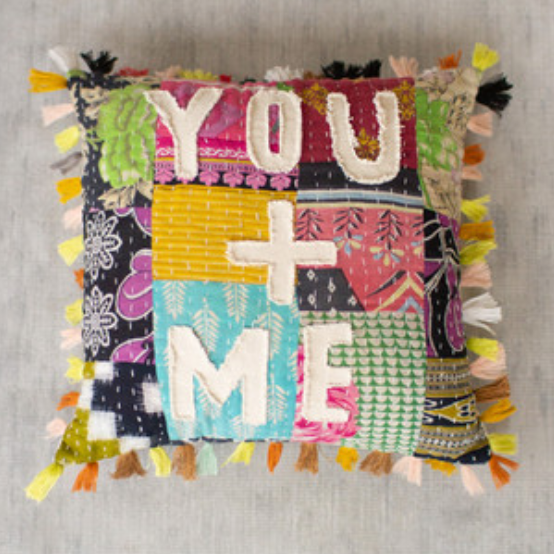 Kantha Pillow You + Me
